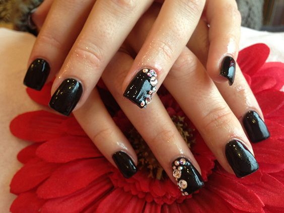fotos de uas color negro u black nails u ejemplos pintar uas black
