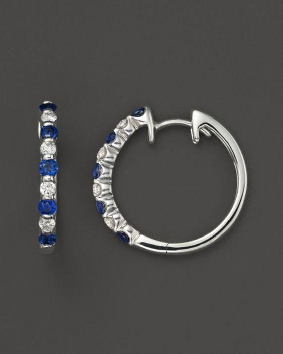 Diamond and Sapphire Hoop Earrings in 14K White Gold | Bloomingdales's