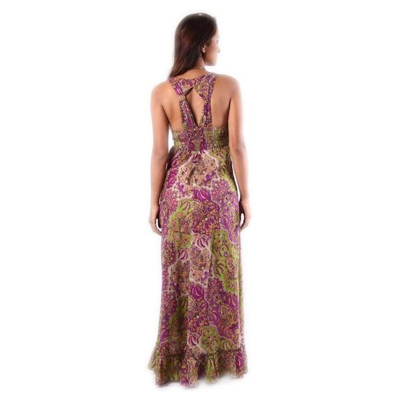 Cotton Paisley Print Long Dress