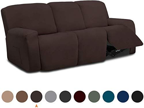 New Easy Going 8 Pieces Microfiber Stretch Sectional Recliner Sofa Slipcover Soft Fitted Fleece 3 Seats Couch Cover Washable Furniture Protector Elasticity K In 2020 Sectional Sofa With Recliner Couch Covers Reclining Sofa