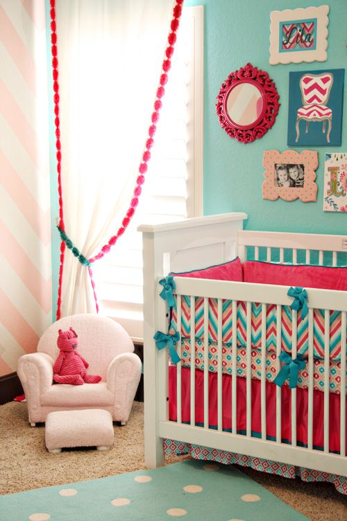 coral and turquoise nursery