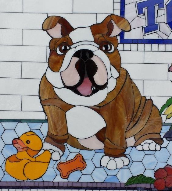 Custom Pet Portrait in Stained Glass Mosaic