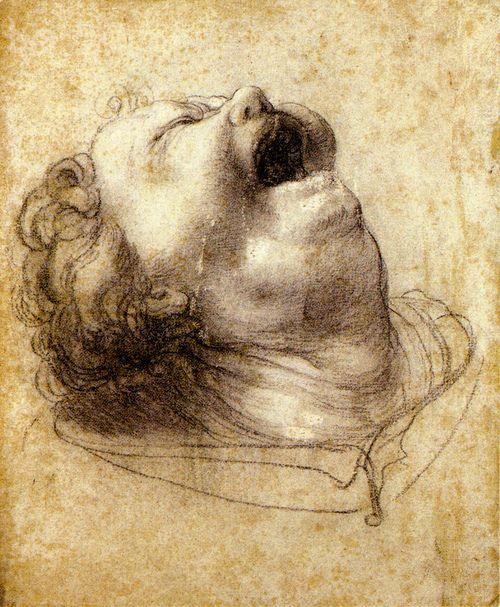 Matthias Grunewald - Head of a boy crying (c.1520) chalk [Berlin]