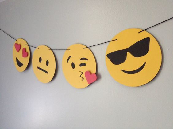 EMOJI banner // emojis, heart eyes, sunglasses, kawaii, iOS, hipster, photo booth, dorm decor: