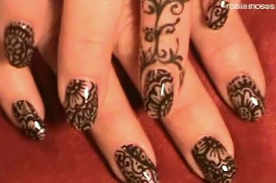 "In sharing our love of fierce nail art and global culture we had to share Robin Moses ""Mehndi""  nail art (apologies for the blurry images ). To fully appreciate, take a look at the tutorial on the next page the via Robin Moses.  Next on our list of nail art to rock for sure!"