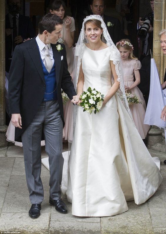The newlyweds take their first step as a married couple as they leave Romsey Abbey after their eagerly anticipated wedding earlier today