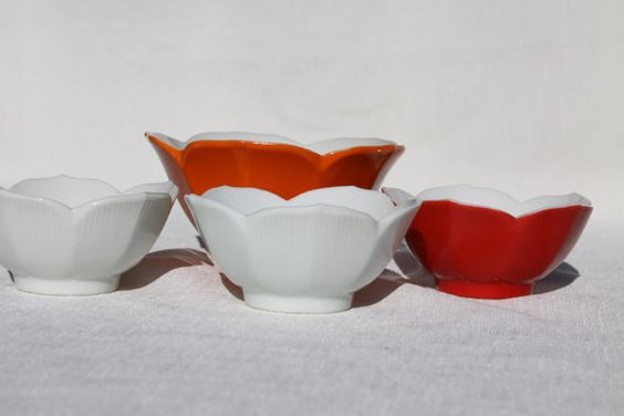 Lotus Cups 3 Small Vintage porcelain bowls Red by theartlyons