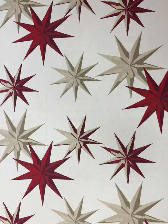 Tablecloth white with red and beige stars Winter decor, Christmas gift, Scandinavian design by SiKriDream on Etsy