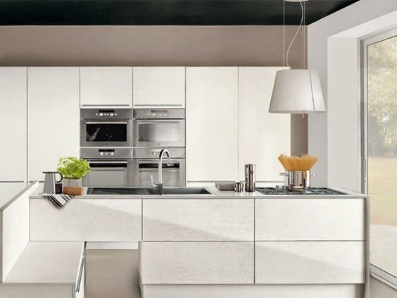 Modern white gloss kitchen units combined with other colors