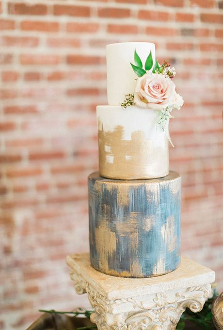 Rustic White, Metallic Blue, and Gold Wedding Cake | Brides.com