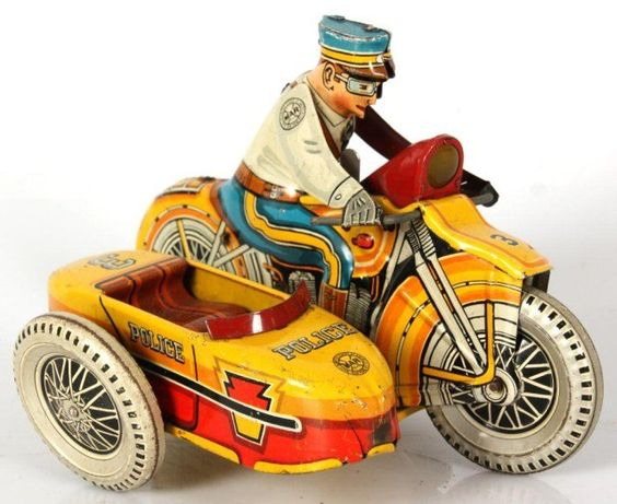 Marx Windup Toy Police Motorcycle: