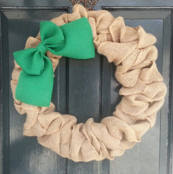 Natural Burlap wreath with big green burlap bow  Yes you can customize it! Add on a monogram or different color bow!  I hand tie everything on here,