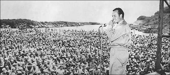 Bob Hope entertained American servicemen at the airstrip in Munda, New Georgia, an island in the central Solomons, on Oct. 31, 1944