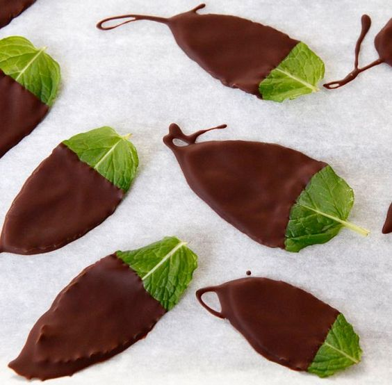 After-dinner chocolate-dipped mint leaves