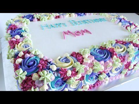 Rectangle Rainbow Rosette Swirl Cake With Whipped Cream Youtube Swirl Cake Cake Frosting Designs Rectangle Cake