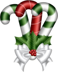 CHRISTMAS CANDY CANES AND BOW CLIP ART
