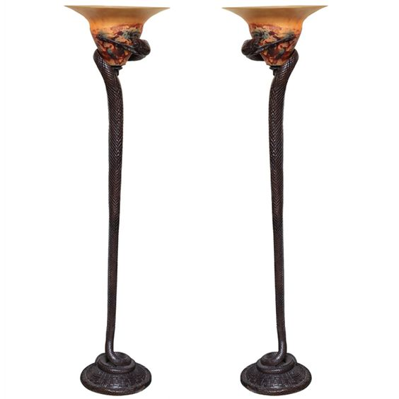 pair of art deco style bronze and art glass snake form With art deco floor lamp melbourne