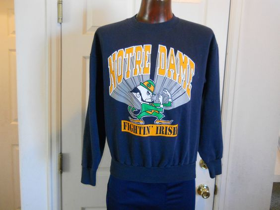 Men's Vintage NCAA Notre Dame Fightin' Irish 50 50 Blend Sweatshirt Size L TNT | eBay