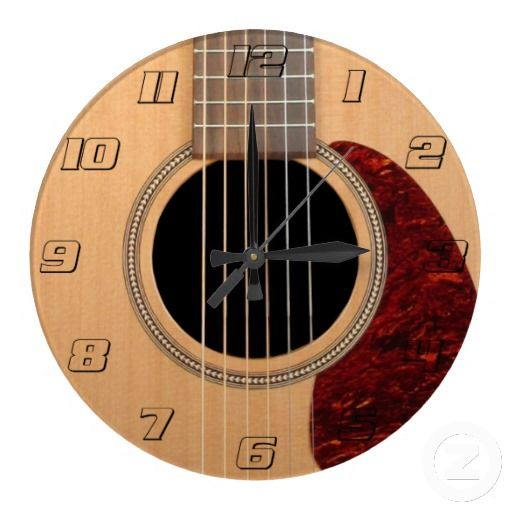 Acoustic Drednaught Guitar six string Wallclock