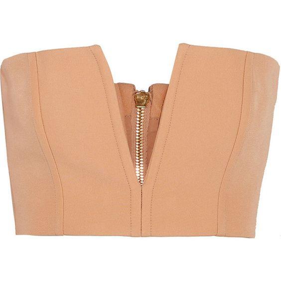 Balmain Cutout crepe bandeau top (£745) ❤ liked on Polyvore featuring tops, balmain, beige, bandeau bikini top, red corset top, beige corset, beige corset top and beige top