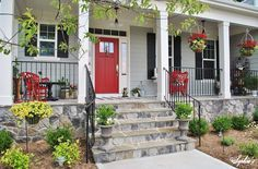 Sophia's: Farmhouse Style Front Porch with Pops of Red: Red door, red light fixture, large door mat!