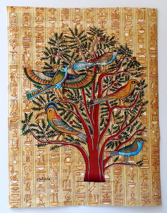 Trees tree of life and for sale on pinterest for Egyptian mural painting