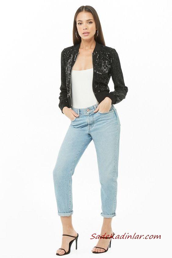 Bayan Pantolon Ceket Kombinleri Mavi Kot Pantolon Beyaz Bluz Siyah Payetli Bomber Ceket Siyah Stiletto Ayakkabi Bomber Ceket Moda Stilleri Moda