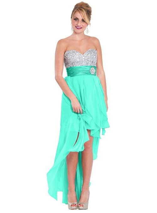 Mint and bright jade high low prom dresses under $100 - Cute cheap ...