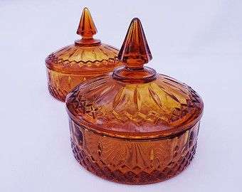 Mid Century Amber Glass Candy Dish set of Two
