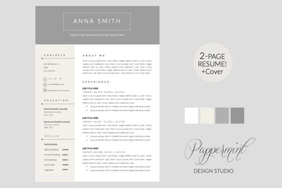 Ghost - Resume Template - C O N T E N T S 2 page resume template - references page for resume