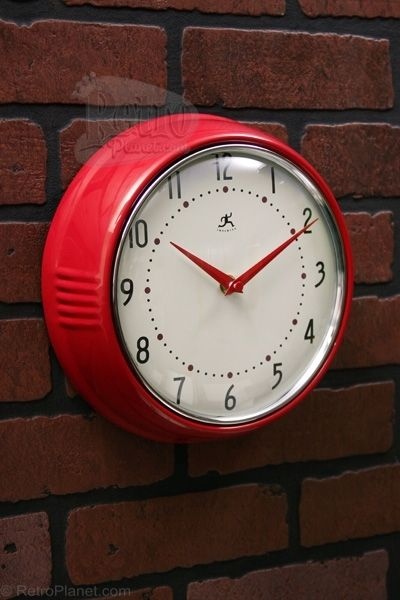 Red Fifties Style Kitchen Wall Clock Clock Red Kitchen
