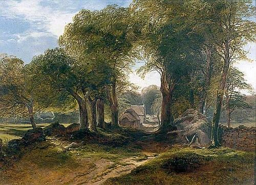 Near Ivybridge, South Devon, watercolor by John Middleton, 1827-1856, British landscape painter and etcher.