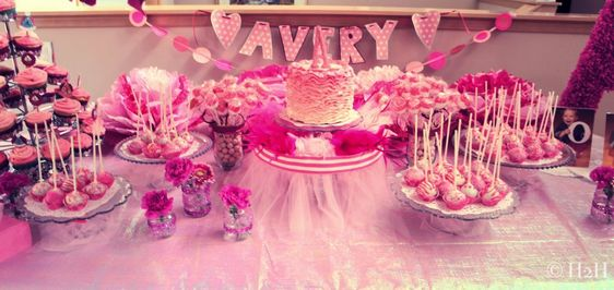 Beautiful, pink dessert table for a tutu-themed first birthday! #firstbirthday