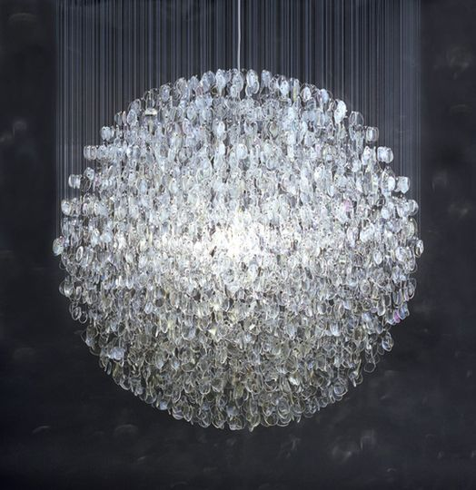 Stuart Haygarth's chandelier created  from over 4500 prescription spectacle lenses.