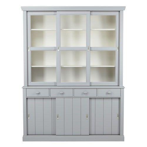 Vaisselier en pin lagos avec portes vitr es gris l121xh220cm prix promo vaiss - Prix portes interieures vitrees ...