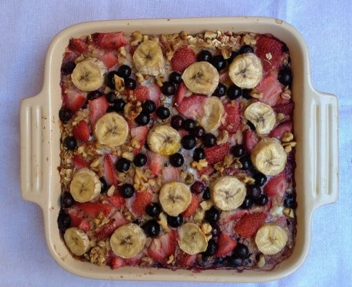 baked oatmeal: strawberries bananas and blueberries!