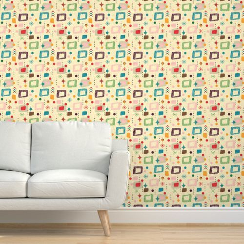 Colorful Fabrics Digitally Printed By Spoonflower 1950s Atomic Pattern Wallpaper Textured Walls Removable Wallpaper