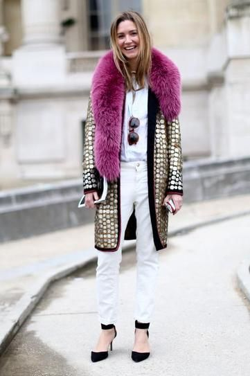 winter outfit - Pop of color! Fuchsia fur over a gold winter coat and all white ensemble