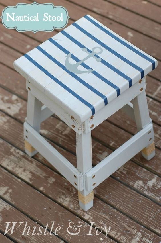 Gray White-Washed Nautical Striped Stool - $5 stool given a fun nautical makeover! {Whistle and Ivy}: