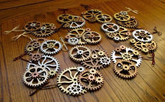 Steampunk Gears Christmas Ornaments (Set of 3 assorted). $18.00, via Etsy.