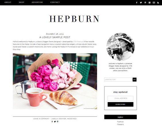 modello di blogger preconfezionato design blog bianco e nero di