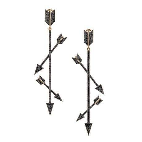 Elena Votsi Eros earrings in 18k yellow gold with 2.24 cts. t.w. black diamonds; $12,600 #ElenaVotsi #yellowgold #blackdiamonds