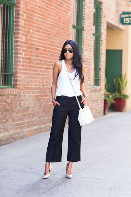 The retro silhouette is having a major comeback this Spring. It is almost like a wardrobe basic. For a budget buy – go for a pair of culottes that do no restrict you to one – two looks. A pair of black bottoms would be the perfect option as you could experiment a lot with the same. For a casual day out – it is recommended to keep it simple.