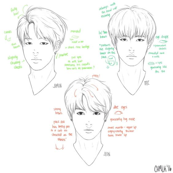 Line Art Drawing Tutorial : Bts jimin jungkook and v sketch references pinterest