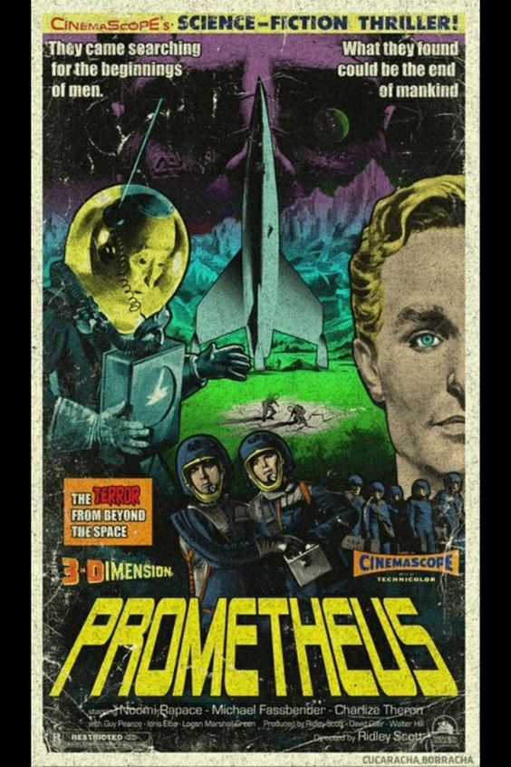 Prometheus screenwriter Damon Lindelof tweeted out this brilliantly cool retro 1950s style movie poster for Ridley Scott's upcoming sci-fi film, and I had to pass it along!