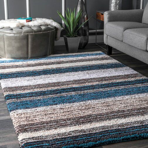 Weeden Striped Hand Tufted Brown Blue Rug Cool Rugs Cozy Rugs Shag Area Rug