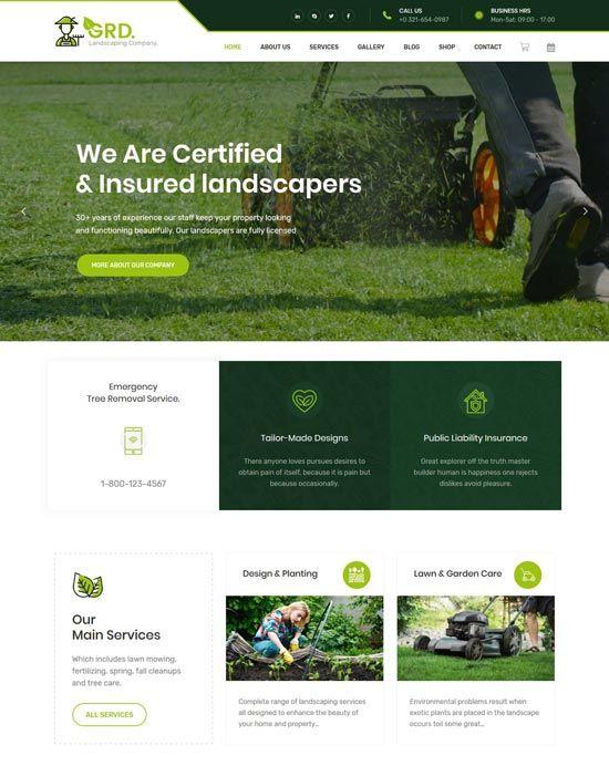 55 Best Gardening And Landscaping Website Templates Freshdesignweb Web Layout Design Website Design Layout Webpage Design