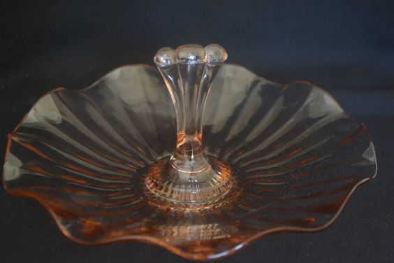 Pink Depression Glass Center Handle Tray dish c. by TheTeacupAttic
