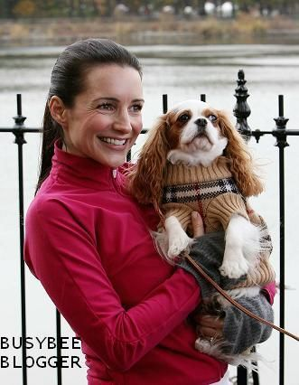 LOVE Charlotte with her Cavalier King Charles Spaniel in its Burberry sweater