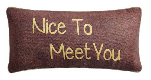 "Coussin en tweed à message ""Nice To Meet You"""